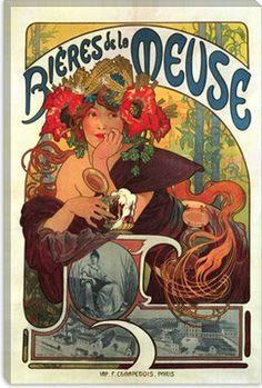 "Amazon.com - iCanvasART Bieres de la Meuse Vintage Beer Poster by Alphonse Mucha Giclee Canvas Art Print #5031 19""x13"" (1.5"" Deep) -"