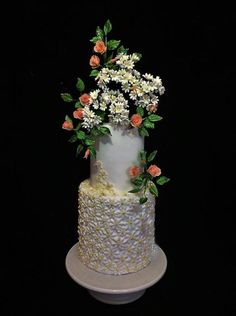 Spring - cake by WorldOfIrena Large Wedding Cakes, Creative Wedding Cakes, Pretty Cakes, Beautiful Cakes, Amazing Cakes, Daisy Cakes, Flower Cakes, Cake Design Inspiration, Daily Inspiration