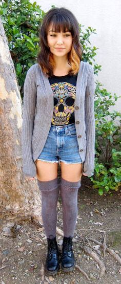 Grey cardigan + skull tee + high waisted jean shorts + knee high socks + black combat boots || transition to spring