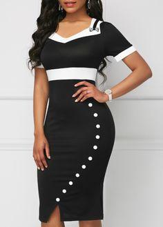 0598a1c0043 Short Sleeve Black Button Detail V Neck Dress