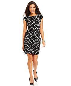 Charter Club Dress, Cap-Sleeve Geometric-Print Belted Sheath - Dresses - Women - Macy's