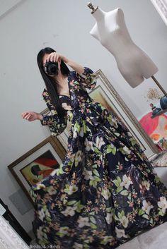 Bohemio de la vendimia 50 s elegante de manga larga v cuello de la impresión floral vestido maxi para las mujeres otoño boho vestido estampado de color azul oscuro vestidos