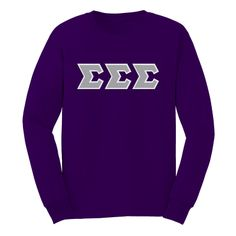 Tri Sigma Purple Long Sleeve Tee with Sewn On Letters