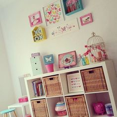 What a gorgeous room for a little princess!!! Features @kmartaus small white mirror, butterfly garden sign, wired bird, bits & bots drawers, XO's, butterfly wall print, shadow boxes, cupcake cookie jar, dipped aqua stool, white side table/cube and coloured milk bottles. Thanks for sharing @Caroline Dular