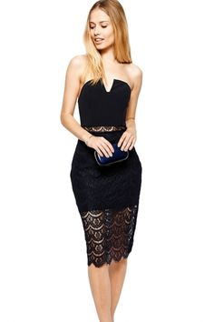 d9adf704ed64 2015 Sexy Black Strapless Long Patchwork Lace Flower Hollow Out Elegant  Bodycon Vestido Celebrity Dress Women Evening Party Prom
