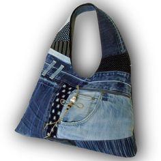 Recycled Old Jeans & Hand-dyed Indigo Fabric Hobo Bag by Kazuenxx on Etsy