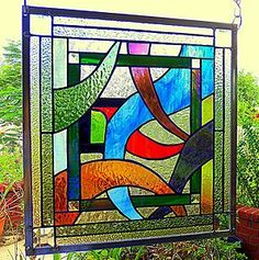 """Stained Glass Window Panel: ~~"""" The Ins and Outs """" ~~   eBay"""