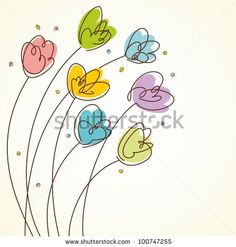 Floral Design card. Spring tulips. Vector illustration with hand-drawn design. by BioAur, via ShutterStock