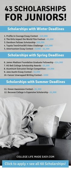 Yay, college scholarship opportunities just for high school juniors! Even better… Yay, college scholarship opportunities just for high school juniors! Even better, this list is actually up to date for High School Anime, High School Hacks, Life Hacks For School, School Study Tips, In High School, High School Students, High School Seniors, School Kids, High School Activities