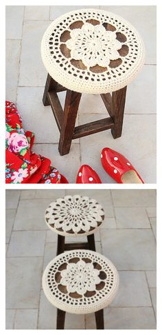 Crocheted Floral Medallion Stool Cover Free Pattern