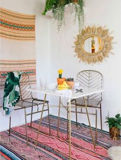 boho dining table setup