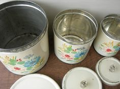 Vintage Ransburg Hand Painted Tin Canisters Set by TintedVintage