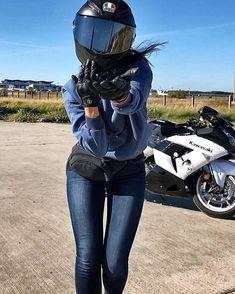 Motorbike Girl, Motorcycle Outfit, Motorcycle Helmet, Lady Biker, Biker Girl, Ride Out, Biker Chick, Biker Style, Bike Life