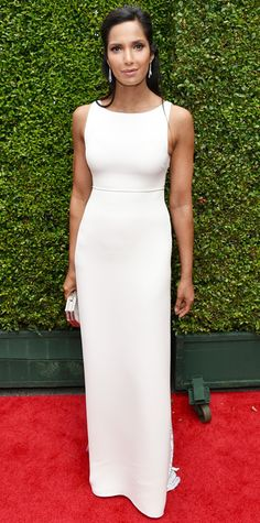 Emmy Awards 2014 Red Carpet Photos - Padma Lakshmi in Ralph Rucci. #InStyle