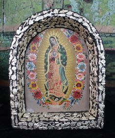 Lovely Medium Retablo Oil Painting Our Lady of Guadalupe Milagro Mexico Folk Art