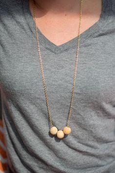 Simple DIY wooden bead necklace