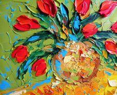 Original Impasto Oil on canvas Tulips by IronsideImpastos on Etsy