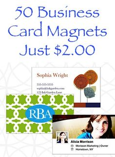Get 50 Business Card Magnets for $2.00 + s/h!!  {Stock up on Business Cards, Etsy Shop Cards, or make some cards for your Teen's Babysitting or Lawn Mowing jobs, etc!}