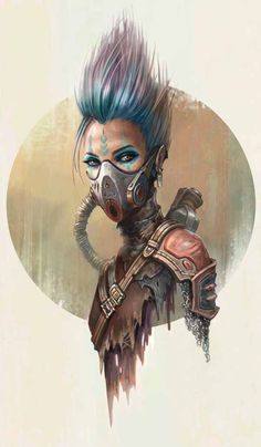 Cyberpunk or Post Apocalyptic warrior fighter Girl in a gas mask, purple hair, neon hair, concept art female character design in light bronze armor By Yasen Stoilov Cyberpunk Kunst, Sci Fi Kunst, Cyberpunk Girl, Cyberpunk Tattoo, Cyberpunk 2077, Cyberpunk Fashion, Gothic Fashion, Concept Art Landscape, Fantasy Concept Art