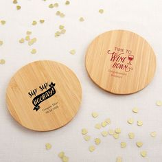 Personalized Wood Round Coaster - Celebration (Set of Extend the celebration to every guest with our Kate Aspen Celebration Personalized Wood Round Coaster set of For a wedding, a birthday, a bachelor or bachelorette party, or any event, the Bridal Shower Gifts For Bride, My Wedding Favors, Brides Basket, Kate Aspen, Personalized Party Favors, Wooden Coasters, Guest Gifts, Wood Detail, Wood Rounds