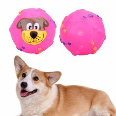Cat /Dog Toys Soft Rubber Dog Face Chew Squeaker Squeaky Toys.