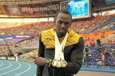 With my three World Championship golds in Moscow,  Usain Bolt 2013,