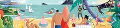 Beach illustration by Xoana Herrera
