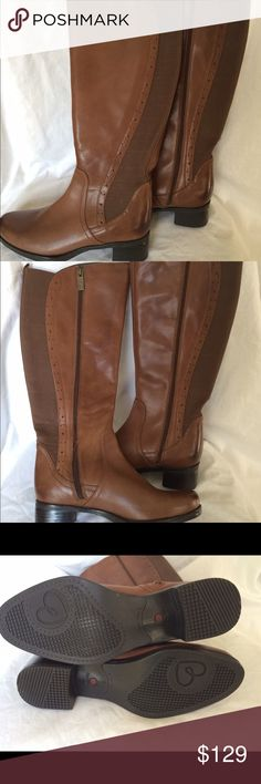 """Blondo """"Lyzon"""" boots size 7 DISCONTINUED NEW BOOTS WITHOUT BOX Waterproof leather upper Brogue detailing 14½"""" shaft height, inside zipper closure 14"""" calf circumference, double elastic gore panel Round toe Padded fabric lining 1¾"""" stacked block heel Rubber sole Imported PLEASE EMAIL ANY QUESTIONS. SHIPS NEXT DAY. blondo Shoes Winter & Rain Boots"""
