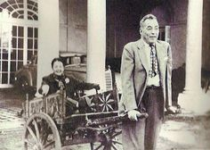 """Alice Astor being drawn in a cart by her older brother Vincent Astor at the family estate Ferncliff in Rhinebeck, New York. This was according to Brooke, """"the only happy picture of Vincent and his sister, taken on his birthday."""""""