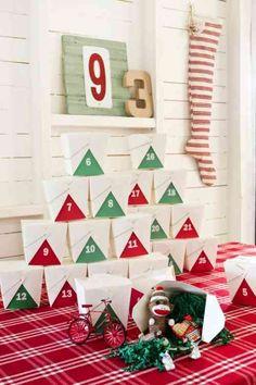 Calendrier de l'Avent original boîtes de papier et DIY déco de Noël
