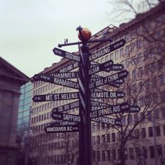 A sign in Portland, Oregon that points in all directions. Pretty awesome!
