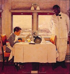 1947 - Boy in a Dining Car - by Norman Rockwell by x-ray delta one, via Flickr The best service I ever had was in the train's dining car: mom and I had a black waiter who really took to me, brought me extra chicken gravy in a silver sauce boat. I still recall the crisp white linens and lovely food even though I was only 8 or so... but mostly I remember that lovely waiter! <3