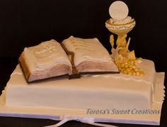 HOLY FIRST COMMUNION CAKE  with chalice and bible ....life size  cake ....all edible and handmade by me :)