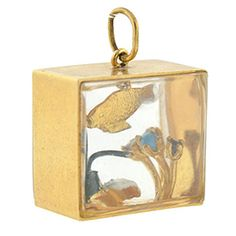 Vintage gold and enamel fish tank charm