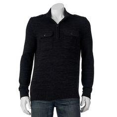 Men's Apt. 9® Modern-Fit Mockneck Quarter-Zip Sweater, Size: Medium, Black