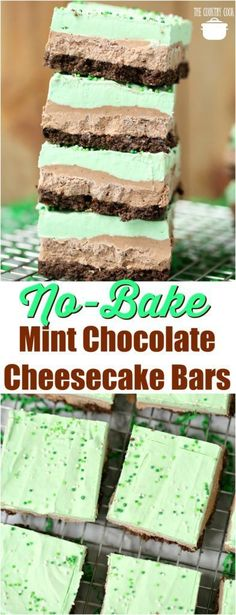 No-Bake Mint Chocolate Cheesecake Layered Bars recipe from The Country Cook #recipes #ideas #StPatricksDay #chocolate #cheesecake #bars #desserts