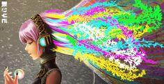 Headphones vocaloid multicolor megurine luka long hair pink hair anime girls colors wallpaper background