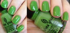 China Glaze Gaga for Green    Green, my favourite colour!  Do I dare paint my nails this colour?