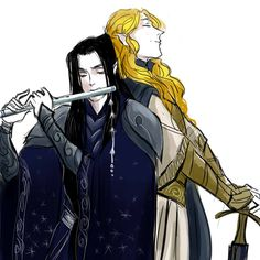Ecthelion & Glorfindel.  I so love the idea of them being Best Friends.  And i love this picture.  Its adorable.