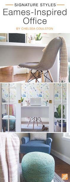 Put a modern twist on mid-century style with an Eames-inspired office. Pair a grey upholstered Eames chair with a sculptural retro-chic desk and surround it with a light and airy color scheme. An on-trend aqua accent pouf adds extra seating and style, giving this 1950's classic a contemporary feel. We partnered with blogger Chelsea Coulston to create this stylish office. Click to explore her selected products.