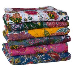 Why not add colour to your bedroom with a Kantha throw - all these colours are just divine!