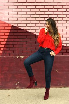 high waist denim, red velvet boots, red blouse | www.lauryncakes.com