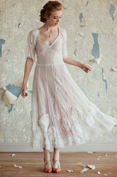 flowy white dress. I love the delicate sleeves