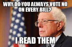 Bernie READS them! Most would agree the flaws in any agreement lay in the fine print detail & Bernie understands that, seizes upon the shortcomings & highlights them. Most drone-like politicians simply scan the detail & work in a moronic-like fashion. Then they, as the ruling Party close ranks & use their majority to shut-down any dissent. Bernie has their measure, thankfully.