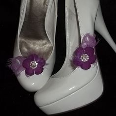 Bridal Shoe Clips  Sweet Lilac Flowers with Lilac by ShoeClipsOnly, $22.00