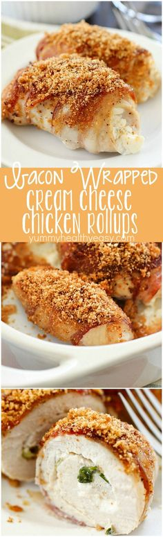 Bacon Wrapped Cream Cheese Chicken Rollups - cream cheese & green onions are spread over chicken & wrapped in bacon, baked then topped with bread crumbs