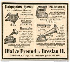 Original-Werbung/Inserat/ Anzeige 1902 - BIAL & FREUND BRESLAU / PHONOGRAPHEN / GRAMMOPHONE / MUSIKWERKE ca. 90 x 80 mm