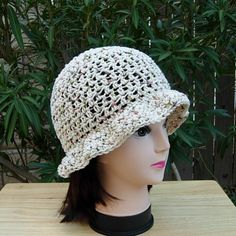 f239f741850 Women s 100% Cotton Lightweight Summer Crochet Hat with Brim