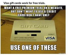 IMPORTANT!!! Use A Visa Gift Card For Free Trials!!! #Various #Trusper #Tip