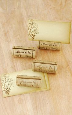 cork place card holders for a wine party or vineyard wedding